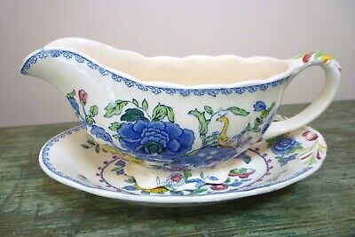 Vintage Masons   Regency   Gravy / Sauce Boat And Stand  Very Good Condition • 12.50£
