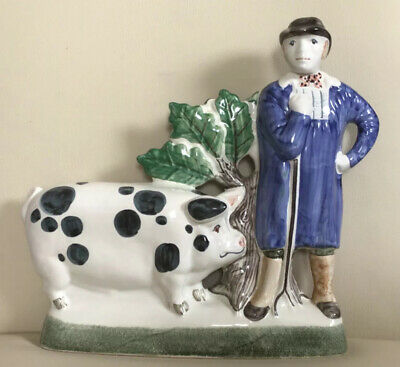 Delightful Rye Pottery Farmers Pride Figure , Farmer & Pig Ornament Hand Made • 45.99£