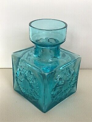 Kingfisher Blue Glass Vase Stylised Flower? Designed By Frank Thrower  • 14.99£