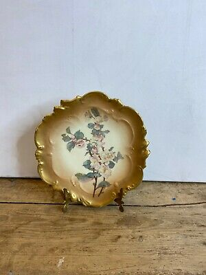 Antique Limoges France Pink White Floral Gold Gilt Scalloped Plate Good Cond • 20£