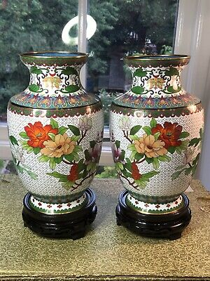 Cloisonne Mirror Pair Baluster Vases NMinFB Chinese Flowers Birds Insects 10  • 245£