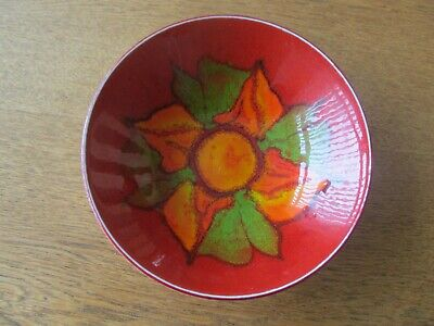 Vintage Poole Pottery Bowl, Traditional Red Orange And Green.pattern • 2£