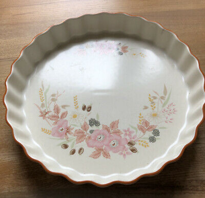 "Vintage Boots Hedge Rose Pottery Flan Dish 10"" Large • 2.50£"