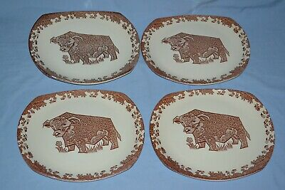 Set Of 4 Of Vintage English Ironstone Beefeater Steak Plates  • 20£