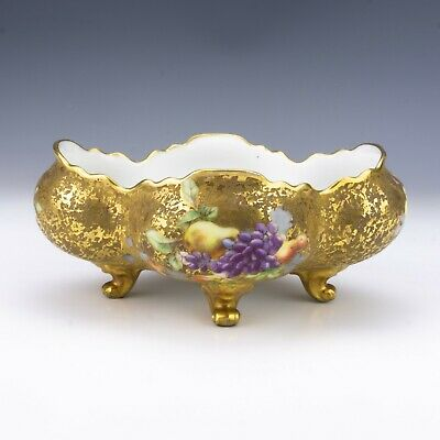 Antique Limoges Porcelain - Grapes, Pear And Gilt Decorated Footed Bowl • 13.18£