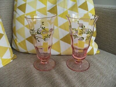 Laura Ashley Hand Decorated Floral Pink Glass Pair Of Vases Or Sundae Glasses • 7.50£