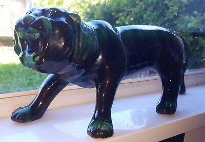 VINTAGE BLUE MOUNTAIN POTTERY TIGER.NO DAMAGE.LARGE SIZE.18In LONG. • 24£