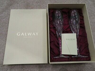 BNIB Galway Crystal Large Flute Toasting Champagne Glasses Flutes • 35£