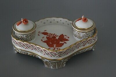 Herend 7803/AOG Rust Orange Chinese Bouquet Apponyi Inkstand • 195£