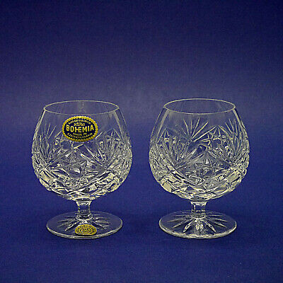 Two Bohemia Crystal Handcut Brandy Balloons/Glasses - 10.5cm/4.2  High • 14.99£