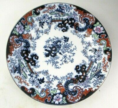 Antique Victorian Ridgways Pottery Imari Flow Blue Dinner Plate - 1885 - 1890 • 4.99£