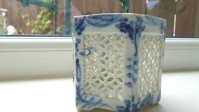 Old Oriental Small Blue And White Latticed Pot • 4.95£