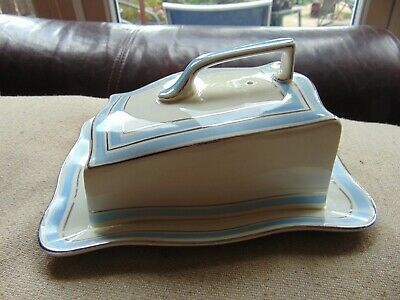 VINTAGE - Crown Ducal - Wonderful Butter/Cheese Dish - Pale Blue With Silver Col • 25£