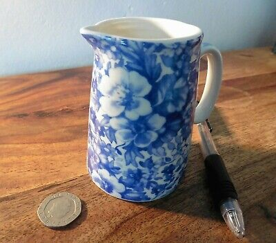 Vintage Heron Cross Pottery Blue & White Floral Chintz Cream Jug ~ 3 Ins Tall.  • 2.99£