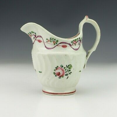 Antique New Hall Porcelain - Hand Painted Garland Decorated - Milk Jug Creamer • 9.99£
