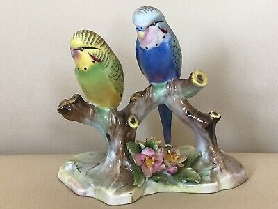 Lovely Figurine Double Budgerigars By Royal Adderley  . • 29.99£