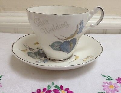 Vintage China Tea Cup And Saucer Silver Wedding Argyle Bone China • 6.50£
