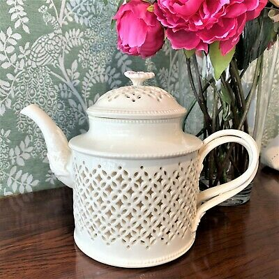 Hartley Green Leeds Pottery Creamware Pierced Teapot • 275£