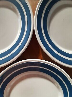 3 Staffordshire Potteries Ltd Blue & White Striped Side Plate 9  • 10£