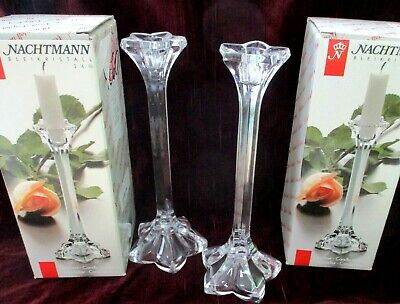 Pair Of Nachtmann German Crystal 9  Candlestick Holders Boxed • 20.99£