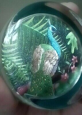 Gorgeous Irredescent Peacock Glass Paperweight/ornament. 7.5 Cm's Diam. • 6.99£