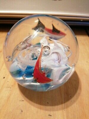 Glass Paperweight With The Sea And Fish • 7£