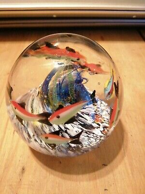 Glass Paperweight With The Sea And Fish • 6£