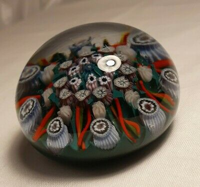 Large Millefiori Style Vintage Glass Paperweight Multi Colour Flowers  • 30£