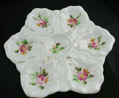Antique Hand Painted Victoria Pottery Oyster Dish Altrohlau Bohemia • 12.99£