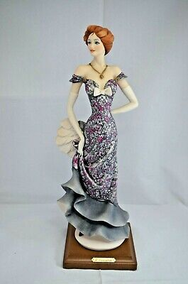 Large Capodimonte Florence Figurine 13 Inch Elegant Lady In Blue Dress With Fan • 125£
