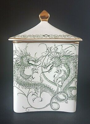 Rare? Vintage Crown Devon Pottery Biscuit Jar And Cover Green Dragons • 4.99£