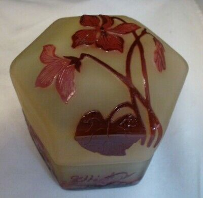 Emile Galle Etched Cameo Glass Power Jar  / Box  CIRCA 1910    LIDDED BOX  • 346.82£