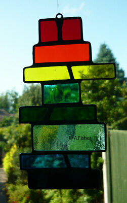 Stained Glass 'Drunken Stick' Rainbow Colours - Handmade  NEW - 15.5cms (6ins) • 13.95£