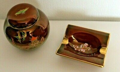 Carlton Ware Ashtray & Small Jar With Lid Preowned (892D71) • 7.50£