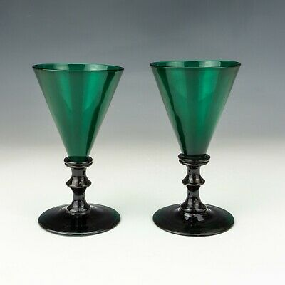 Antique Pair Of Knop Stemmed - Victorian Green Glass Wine Glasses • 11.50£