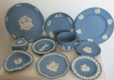 Job Lot Of Blue Wedgwood Plates & Trinket Dishes Preowned (850D71) • 10£