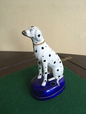 LOVELY OLD  DECORATIVE POTTERY  DALMATIAN DOG FIGURE  6  Inches  • 5.50£