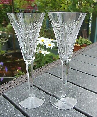 Pair Of Waterford Crystal Millennium Health Champagne Toasting Flutes • 55£
