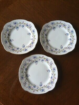Duchess TRANQUILITY 3 X Old Style Side Plates. Forget-Me-Nots.China. VGC • 5£