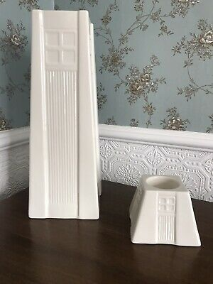 Belleek Tall Porcelain Vase And Candle Votive Malayan Temple Inspired • 39.99£
