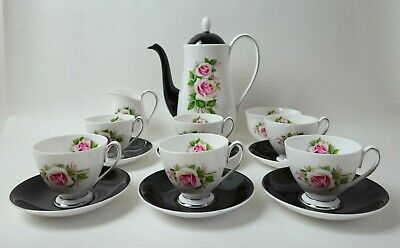 Vintage Queen Anne Bone China Coffee Set For With Coffee Pot - Roses • 38£