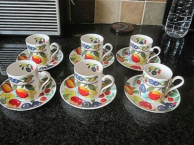 Lovely Set Of 6 Roy Kirkham Eden Coffee Cups Cans & Saucers Ivgc • 25£