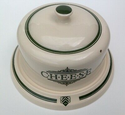 1869 Victorian Pottery Large Cheese Dish With Green Script • 25£