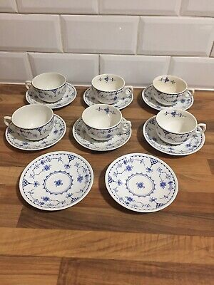 Furnivals Blue Denmark 6 X Tea Cup And Saucers • 36.95£