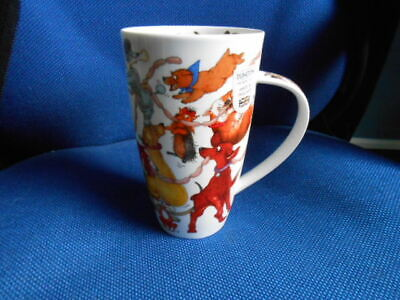 NEW Dunoon Large / Tall Fine Bone China  Dogs Frolics  Mug / Cup - Cherry Denman • 19.95£