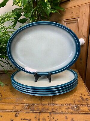 Vintage 60s Wedgwood Blue Pacific Large Oval Dinner Plate Steak Platter 5 Avail. • 14.99£