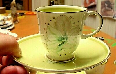 Susie Cooper Clematis Gilded Coffee Cup And Saucer Pastel Green • 19.95£
