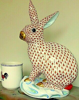 RARE Herend Porcelain Huge Rabbit Rust Fishnet Perfect Condition, 30cm Tall • 525£