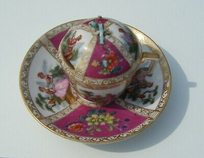 Antique Meissen Chocolate Cup Saucer & Cover • 19.99£