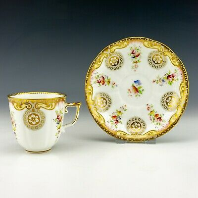 Antique English Porcelain - Flower Decorated & Gilded Cabinet Cup & Saucer • 17£
